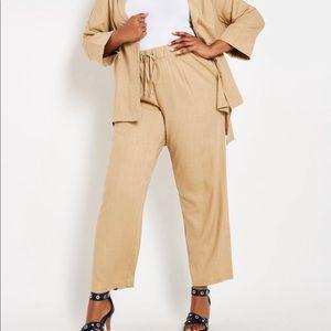 Ashley Stewart wide leg linen blend pants